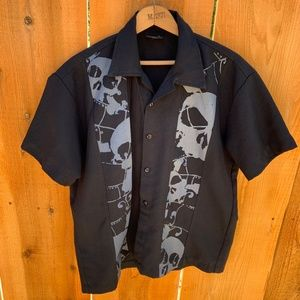 Mens Steady Last Call Bowling Skulls Black Shirt S